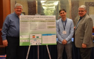 Jonathan Sharr, Middlesex Hospital, stands alongside his poster submission with the 2017 HFMA Poster Competition sponsors, from left, Joe Pajor and Jim Heffernan.